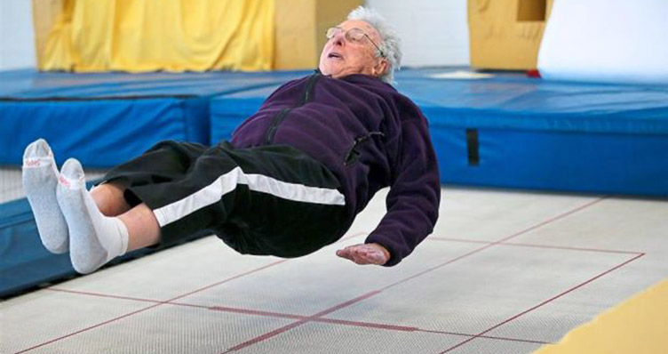 95 year old men on trampoline